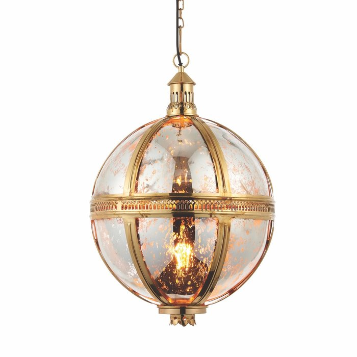 Opulent Globe Pendant - Brass & Mercury Glass - Large
