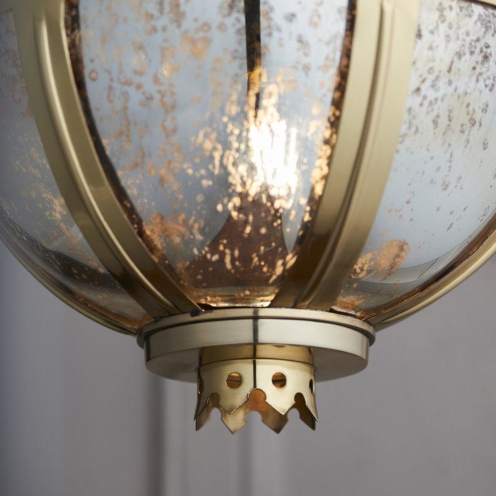 Opulent Globe Pendant - Brass & Mercury Glass - Small