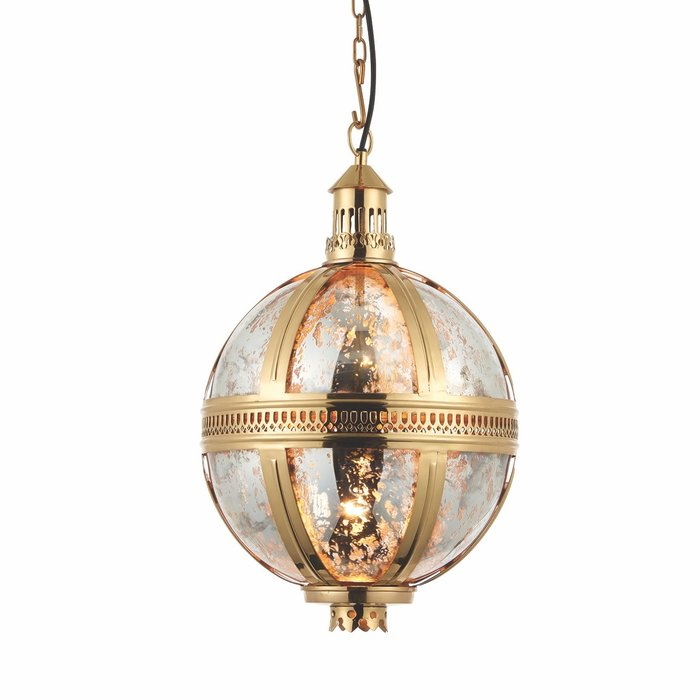 Opulent Globe Pendant - Brass & Mercury Glass - Small