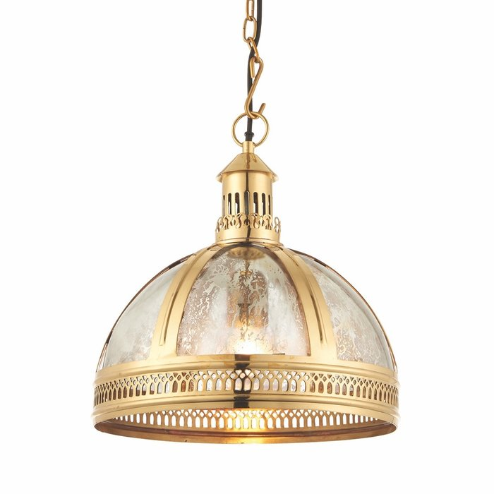 Opulent Domed Pendant - Brass & Mercury Glass