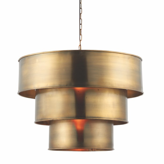 Cylindrical Tiered Pendant - Aged Brass