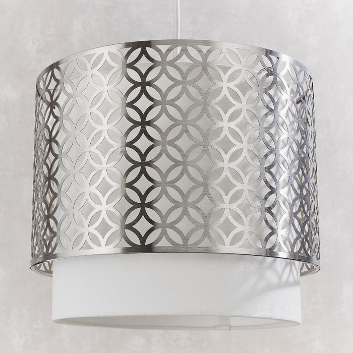 Tiered Satin Nickel & Vintage White Pendant