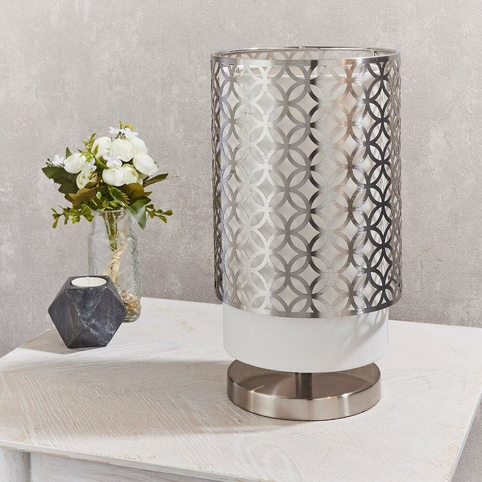 Two Tiered Satin Nickel & Vintage White Table Lamp