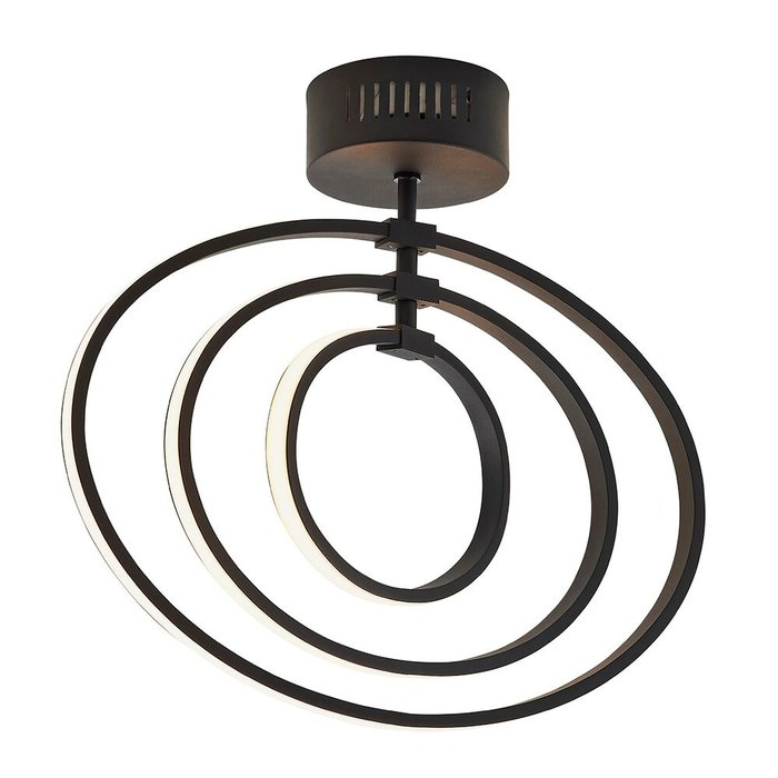LED Hoop Semi Flush Ceiling Light - Black