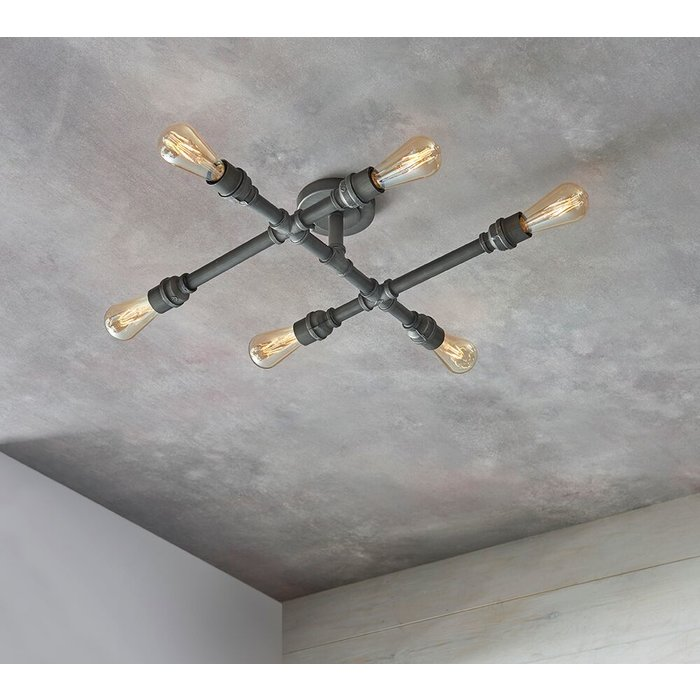 Industrial Pipe Semi Flush Ceiling Light