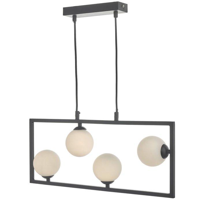 Sio - Matt Black & Opal Globe Bar Pendant