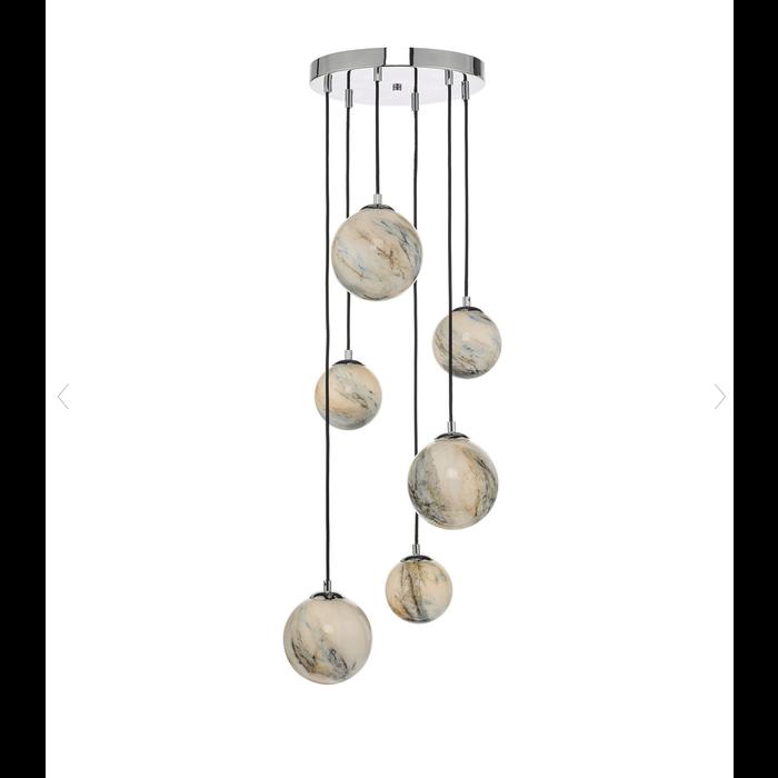 Meeko - 6 Light Cluster Pendant - Marbled Art Glass