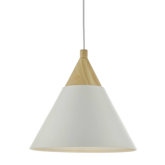 Scandi Pendant - Ivory and Natural Wood