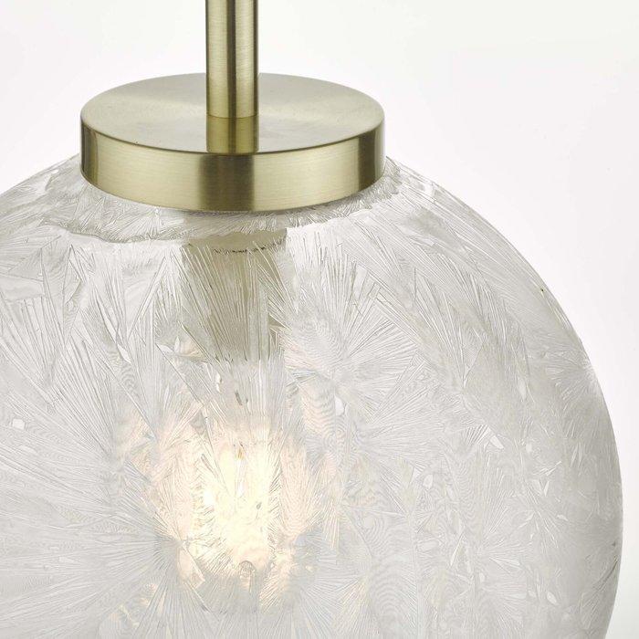 Ava - Iced Glass Sphere Pendant - Satin Brass