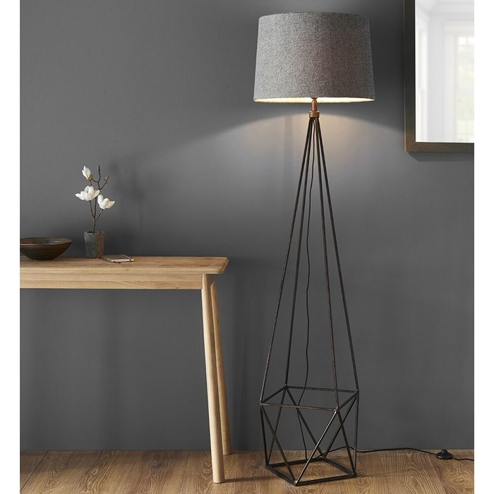 Cage Floor Lamp - Aged Copper & Grey Fabric