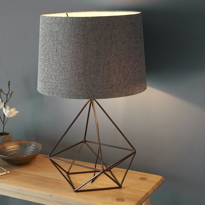 Cage Table Lamp - Aged Copper & Grey Fabric