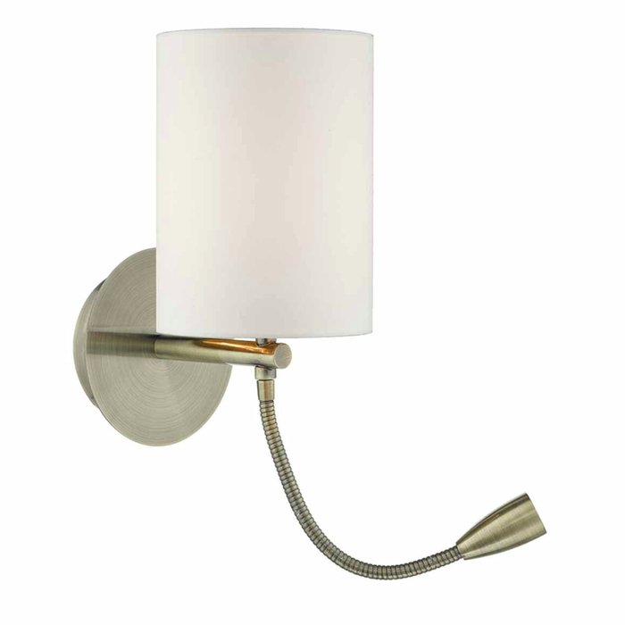 Hotel - LED Dual Light Bedside Reader Wall Light - Antique Brass