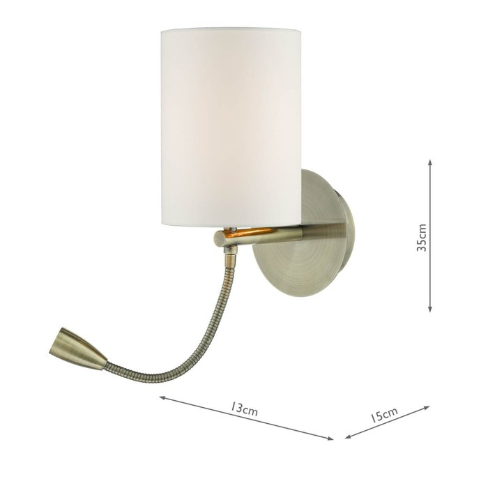 Hotel - LED Dual Light Bedside Reader Wall Light - Antique Brass