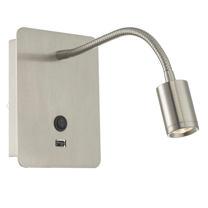 Flexi - Hotel - Gooseneck LED Reading Wall Light - Satin Nickel