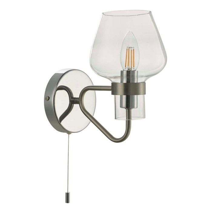 Keta - Retro Industrial Wall Light - Satin & Polished Chrome
