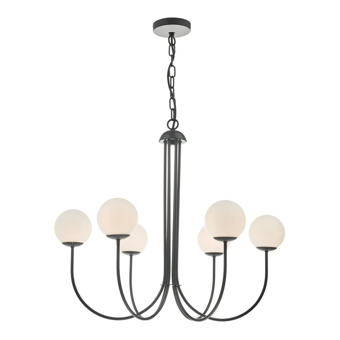 Cornelian - Mid Century Opal Glass & Matt Black Feature Light