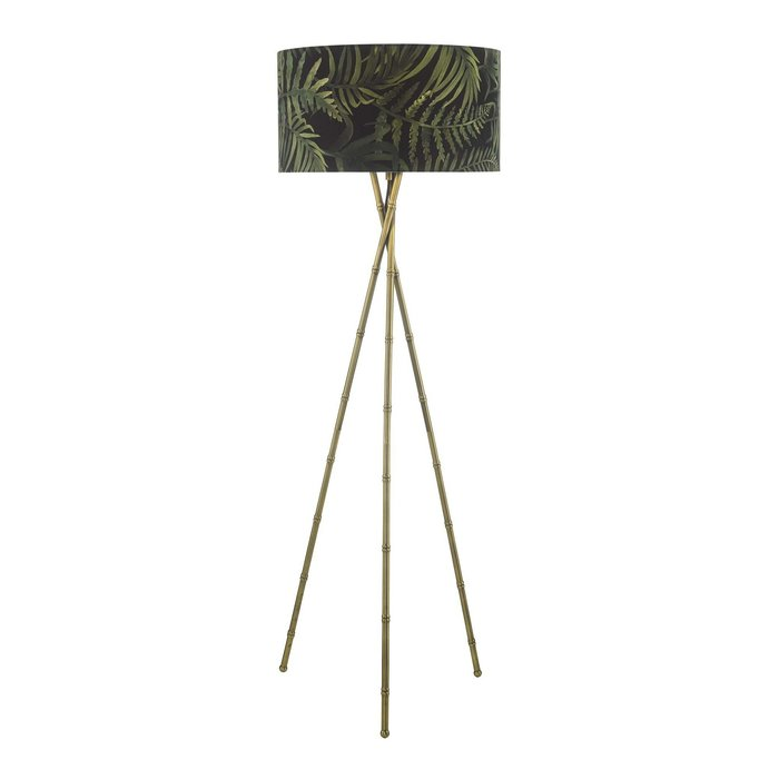 Bamboo Floor Lamp - Antique Brass