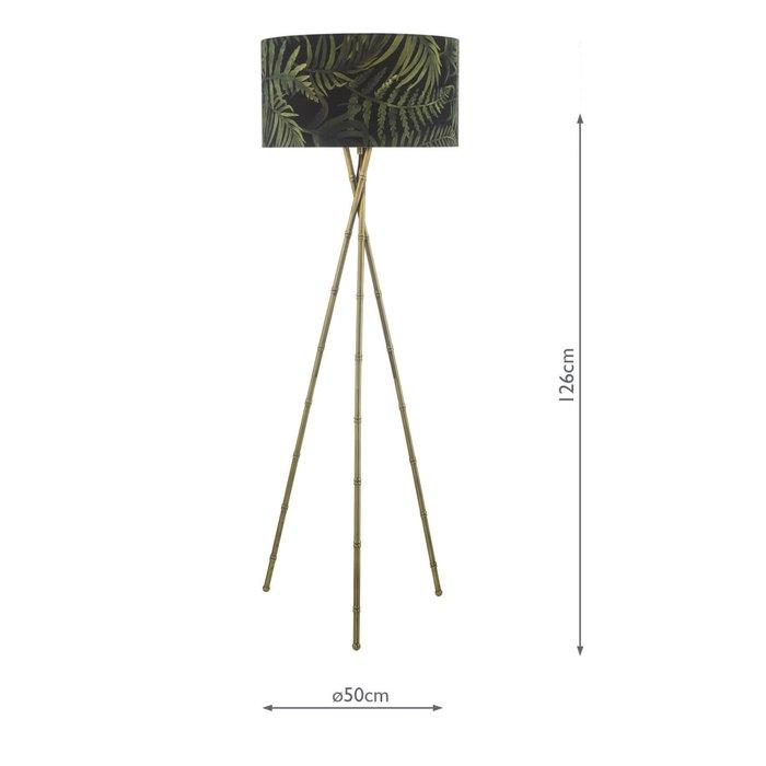 Bamboo Floor Lamp - Antique Brass