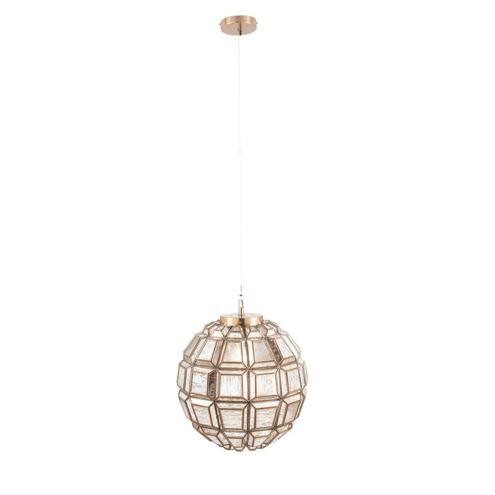 Moroccan Globe Feature Pendant - Antique Brass & Silver Glass