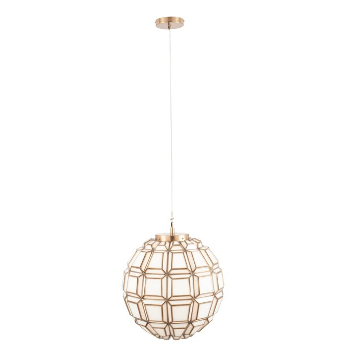 Moroccan Globe Feature Pendant - Antique Brass & White Glass