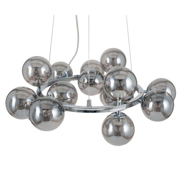 Smoked Glass Ball & Chrome Pendant