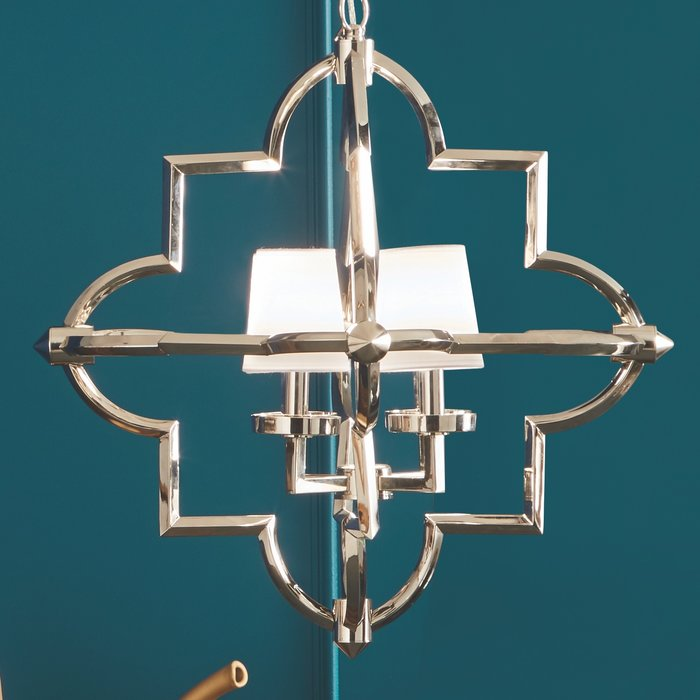 Modern Moroccan Feature Pendant - Polished Nickel & White Cotton Shades