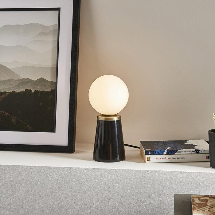Black Dot - Mid Century Black Marble & Opal Table lamp