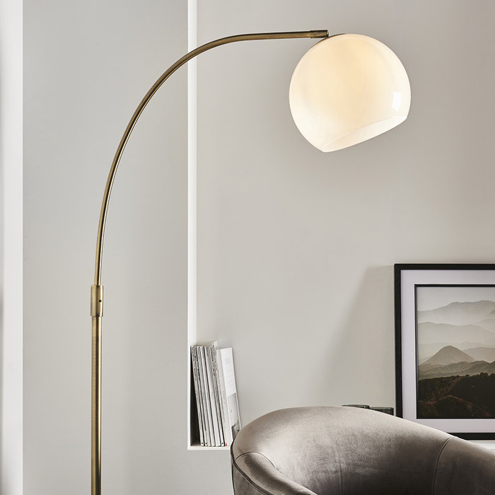 Black Dot - Mid Century Black Marble & Opal Floor lamp