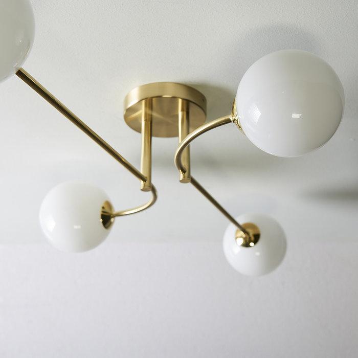 Flush Dot - Mid Century Opal Globe & Brass 4 Light Semi-Flush Fitting