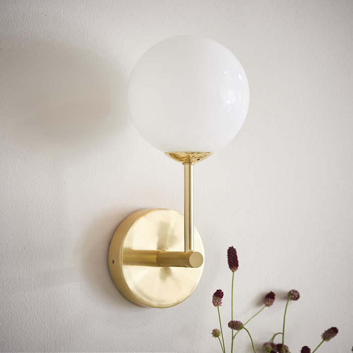 Dot Wall Light - Mid Century Opal Globe & Brass
