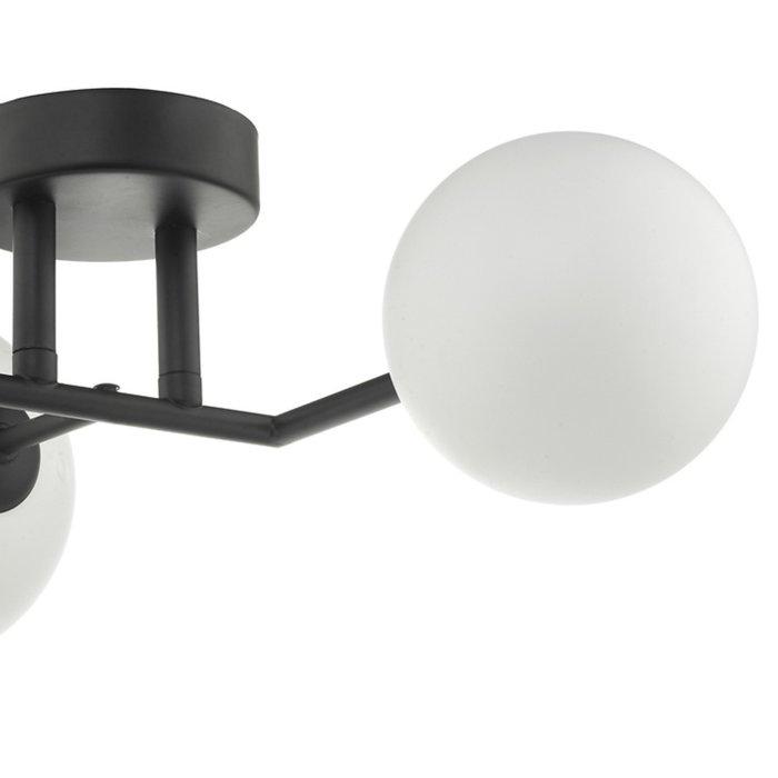 Mac - Matt Black & Opal Glass Globe Statement Wall Light