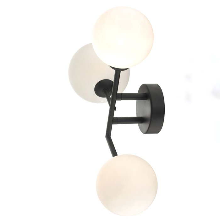Mac - Matt Black & Opal Glass Globe Statement Wall Light
