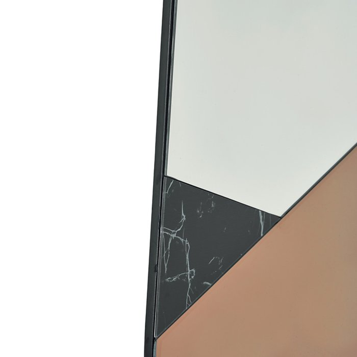 Apollo - Mid Century Rose Gold & Black Marble Feature Mirror