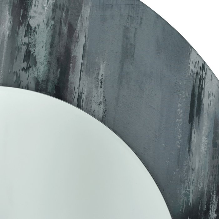 Ares - Grey Round Mirror - Marble Patterned Print