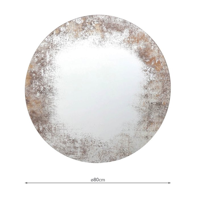 Artemis - Distressed Foxed Round Mirror