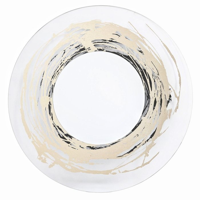 Adria - Clear Glass Gold & Silver Foil Artwork Round Mirror