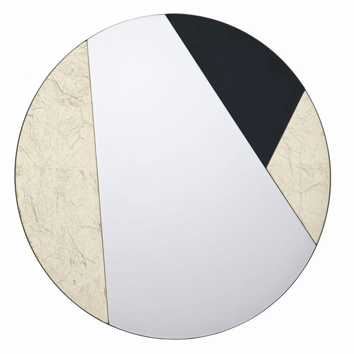 Joan - Gold Leaf & Piano Black Geometric Small Round Mirror