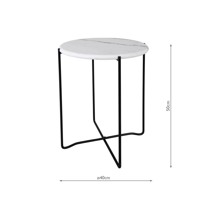 Athena - Round Rolled Edge Side Table - White Marble