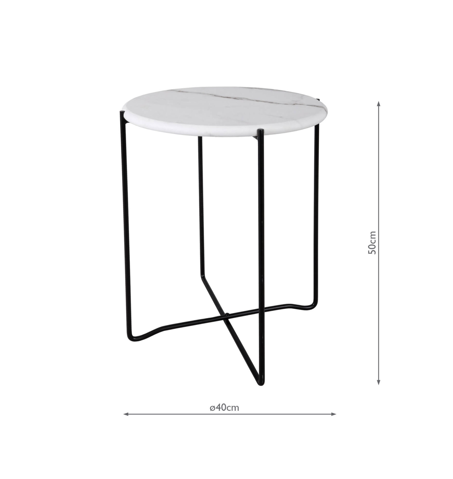 Athena Round Rolled Edge Side Table White Marble Lightbox