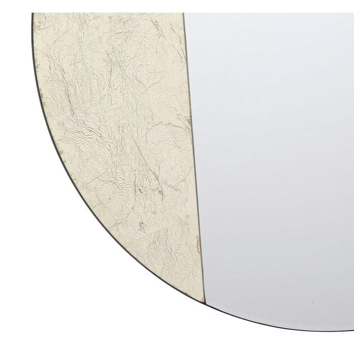 Joan - Gold Leaf & Piano Black Geometric Small Round Mirror