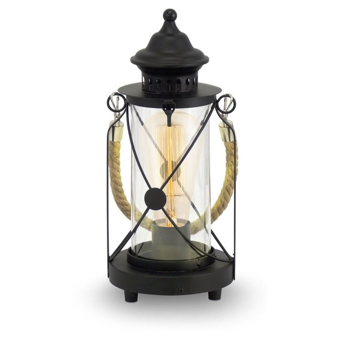 Rope Handled Table Lantern - Black