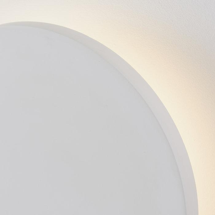 Noe - Minimalist White Plaster Disc Wall Light - Large