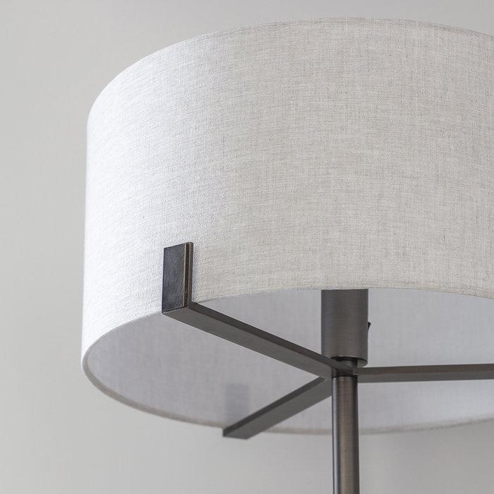 Hatfield - Modern Drum Floor Light - Natural Linen & Brushed Bronze