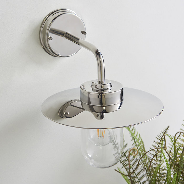 Carrie - Modern Nautical Outdoor Wall Light - Polished Stainless Steel