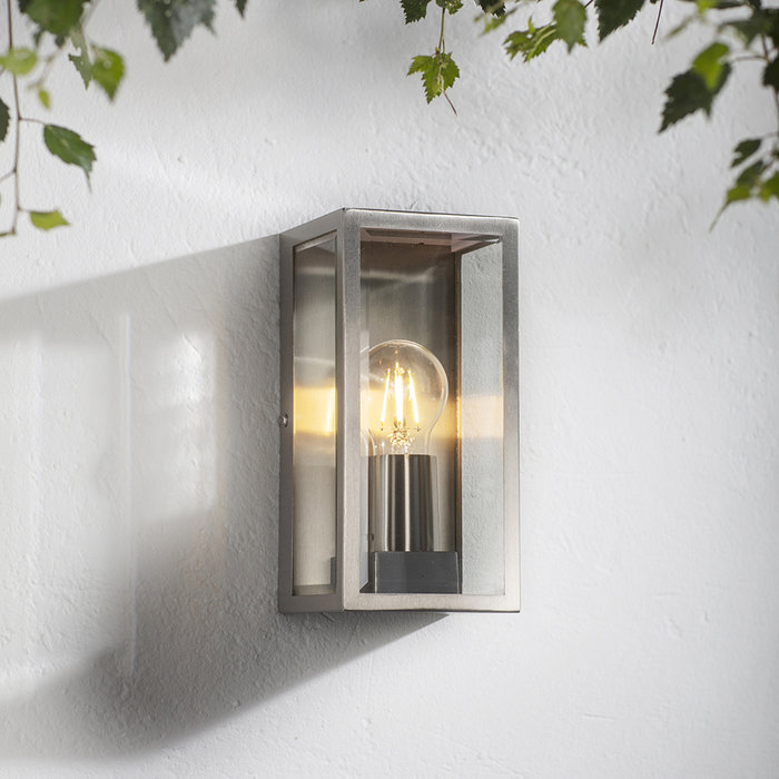 Durham - Box Lantern Outdoor Wall Light  - Brushed Stainless Steel