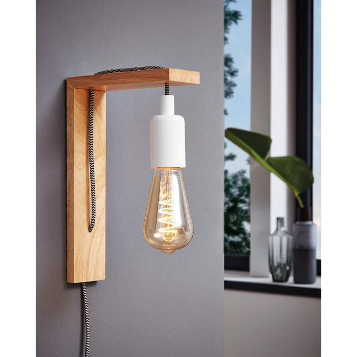 Toco - Washed Wooden Industrial Wall Light