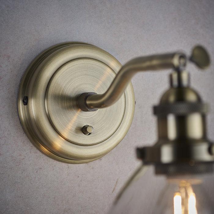 Industrial Glass Wall Light - Antique Brass