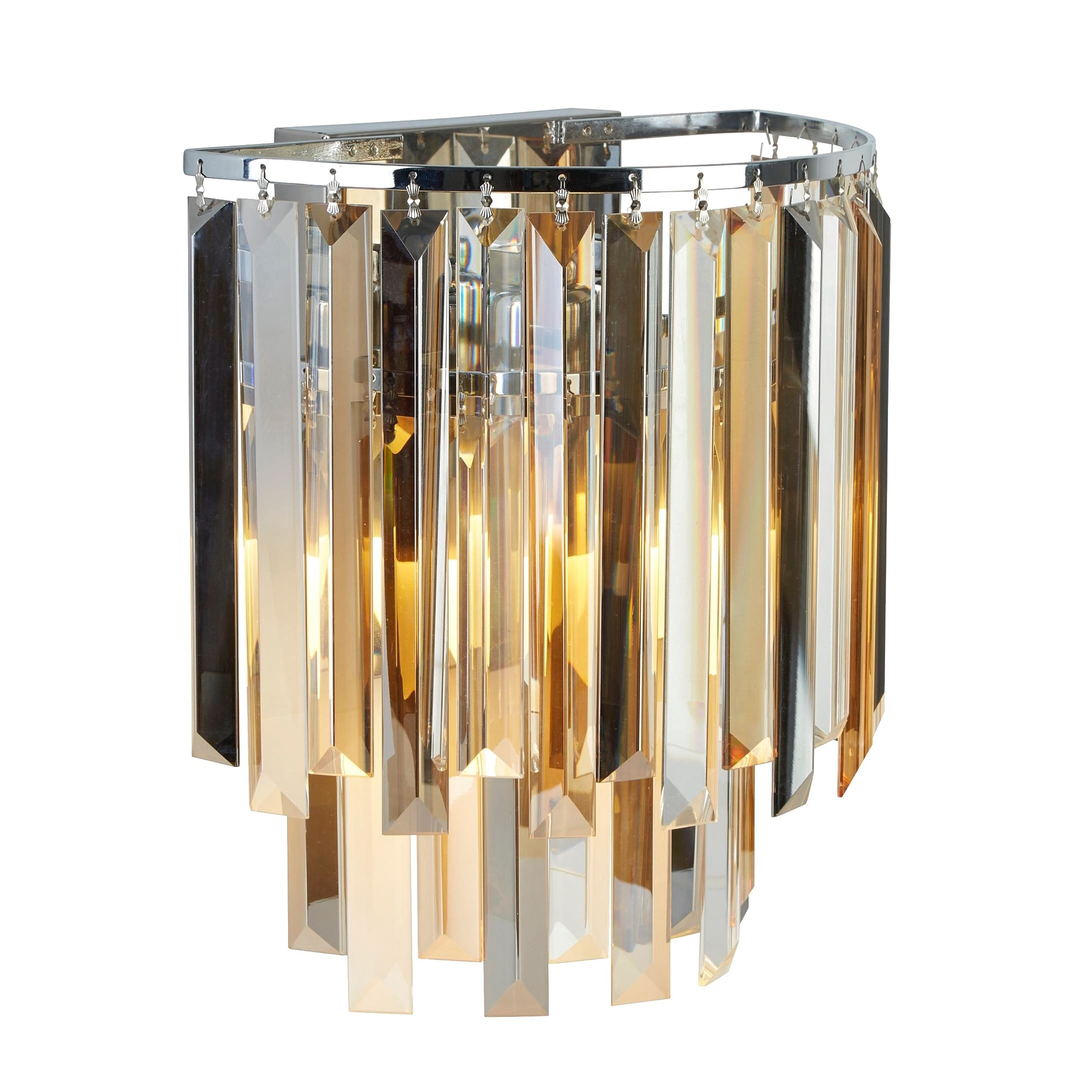 Modern Crystal Wall Light Smoked Clear Amber Prisms Lightbox
