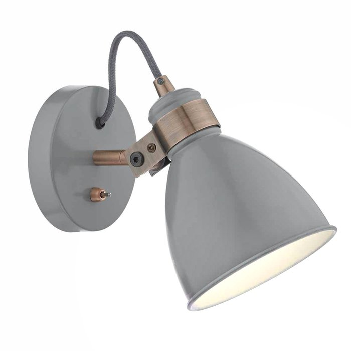 Nordic - Gloss Grey & Copper Wall Light