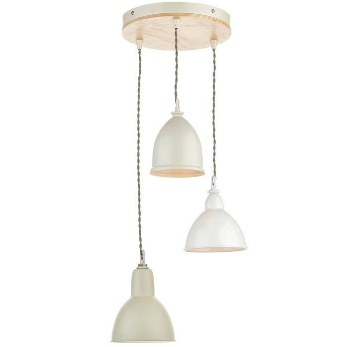 Retro Vintage 3 Light Cluster Pendant- Lightwood and Cream